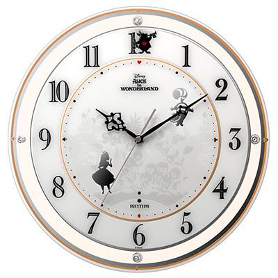 RHYTHM リズム時計 クロック 854アリス Disney ディズニー 電波掛け時計 キャラクター時計 4MY854MC14
