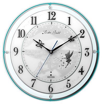 RHYTHM リズム時計 クロック 854ティンカー・ベル Disney ディズニー 電波掛け時計 キャラクター時計 4MY854MT05