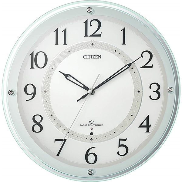 CITIZEN シチズン リズム時計 信用 クロック 電波掛け時計 グリーン サイレントステップ秒針 広範囲受信 70%OFFアウトレット 4MY859-005