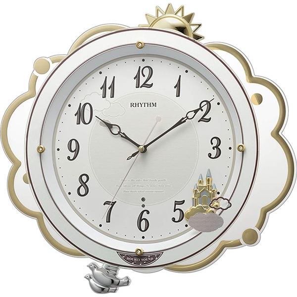RHYTHM リズム時計 クロック 電波掛け時計 振り子付き ゆったり振り子 メロディ 18曲 高音質 8MN410SR03