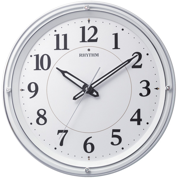 RHYTHM リズム時計 クロック 電波掛け時計 夜間自動点灯ライト付 8MY533SR03