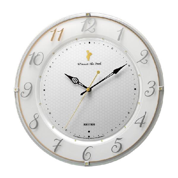 RHYTHM リズム時計 クロック 掛時計542 くまのプーさん 電波掛け時計 8MY542MC03