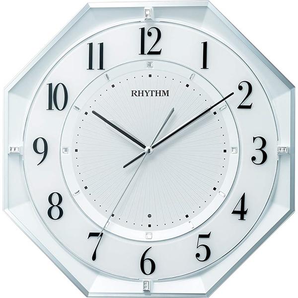 RHYTHM リズム時計 クロック 電波掛け時計 連続秒針 省エネタイプ 八角型 8MY552SR03