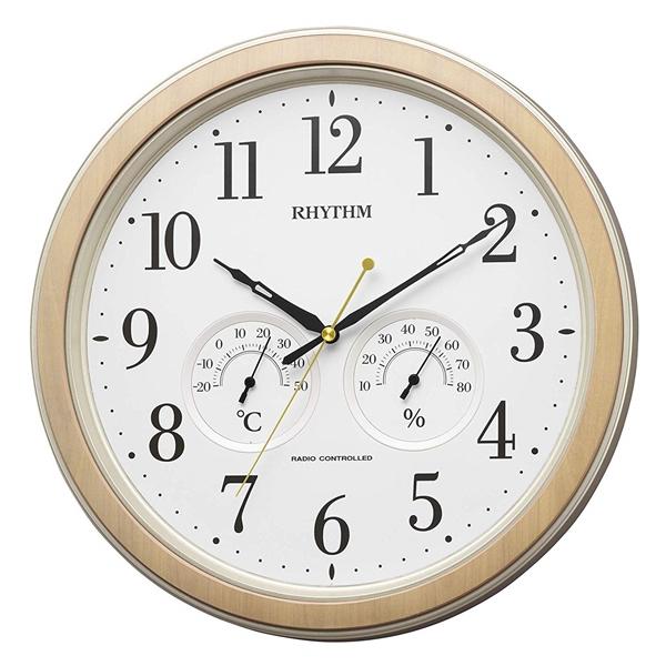 RHYTHM リズム時計 クロック 電波掛け時計 連続秒針 アナログ温湿度表示付 8MY553SR23