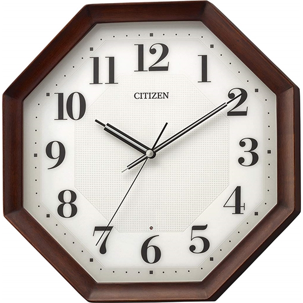 CITIZEN シチズン リズム時計 クロック 電波掛け時計 連続秒針 シンプル 高級感 重厚感 八角型 8MY555-006