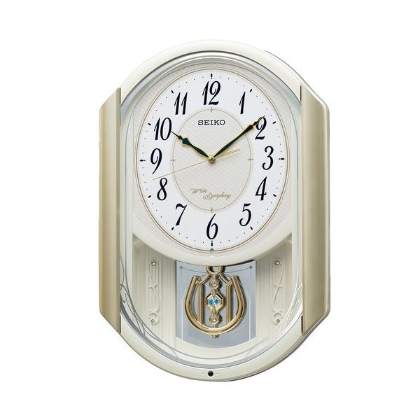 SEIKO セイコー クロック 電波掛け時計 メロディ付き 16曲 おやすみ秒針 AM263S