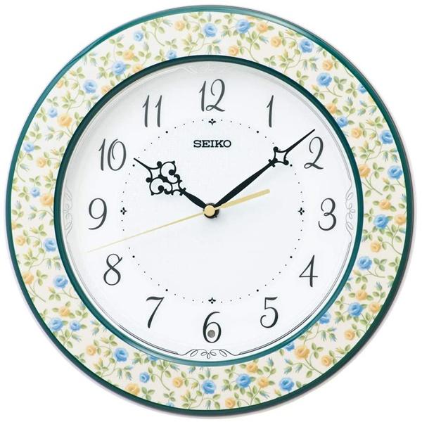 SEIKO おやすみ秒針 セイコー 電波掛け時計 スタンドつき クロック KX266Y スイープセコンド 花模様