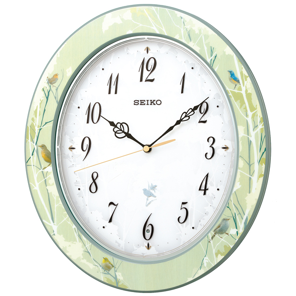 SEIKO セイコー クロック ナチュラルスタイル 12種類の野鳥報時 電波掛け時計 RX214M