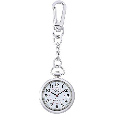 シチズン Q&Q チプシチ 懐中時計 クォーツ ポケットウォッチ 防水 チェーン付き ホワイト QA72-204