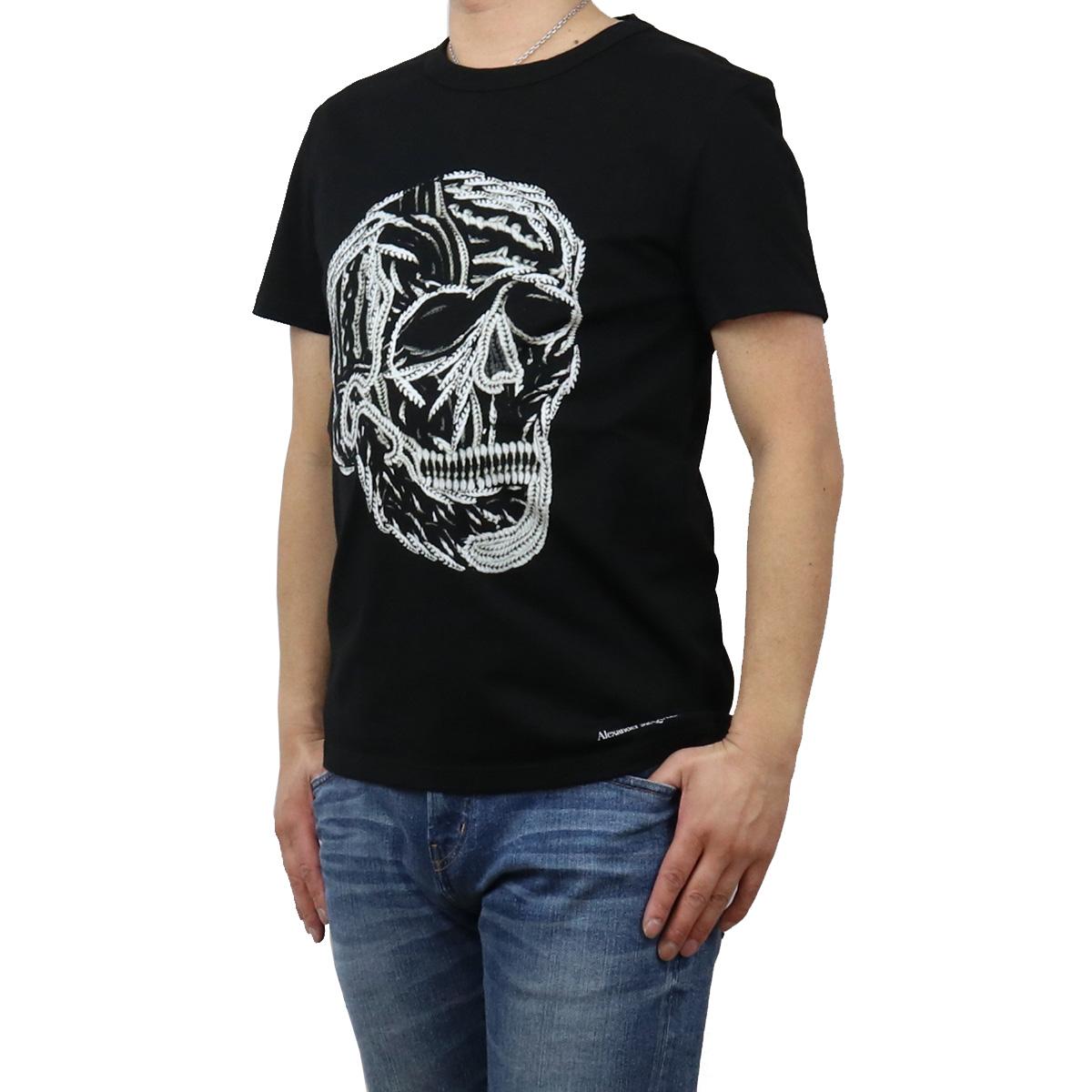 ※ 登場大人気アイテム 送料無料 ラッピング無料 アレキサンダーマックイーン 評価 Alexander McQueen メンズ-Tシャツ 631391 0901 メンズ ブラック bos-34 ts-01 QPZ87 apparel-01 big-01