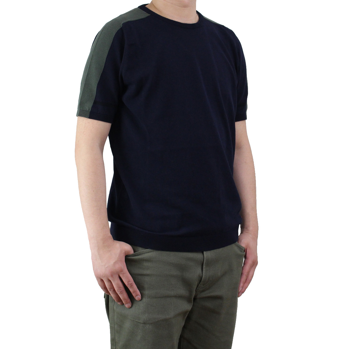 バーク Bark メンズ 半袖 サマー セーター 71B6002 254 NAVY メンズ【キャッシュレス 5% 還元】 KS-3