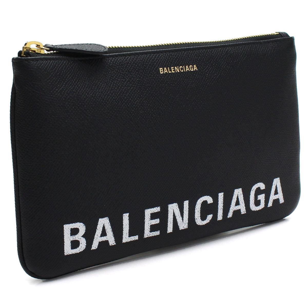 バレンシアガ BALENCIAGA VILLE ヴィル ミディアム クラッチバッグ ポーチ 545773 0OTDM 1000 BLACK/L WHITE ブラック レディース