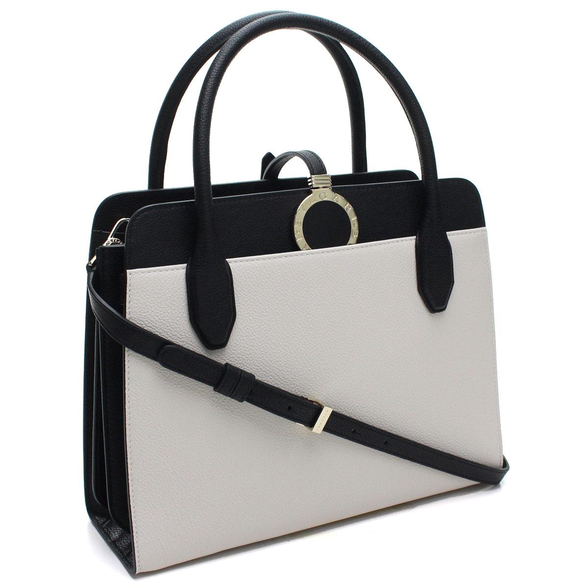 d8249184c91 Bulgari BVLGARI Bulgari Bulgari ALBA tote bag 282797 GRAIN CALF LEATHER  WHITE AGATE white system black Lady's