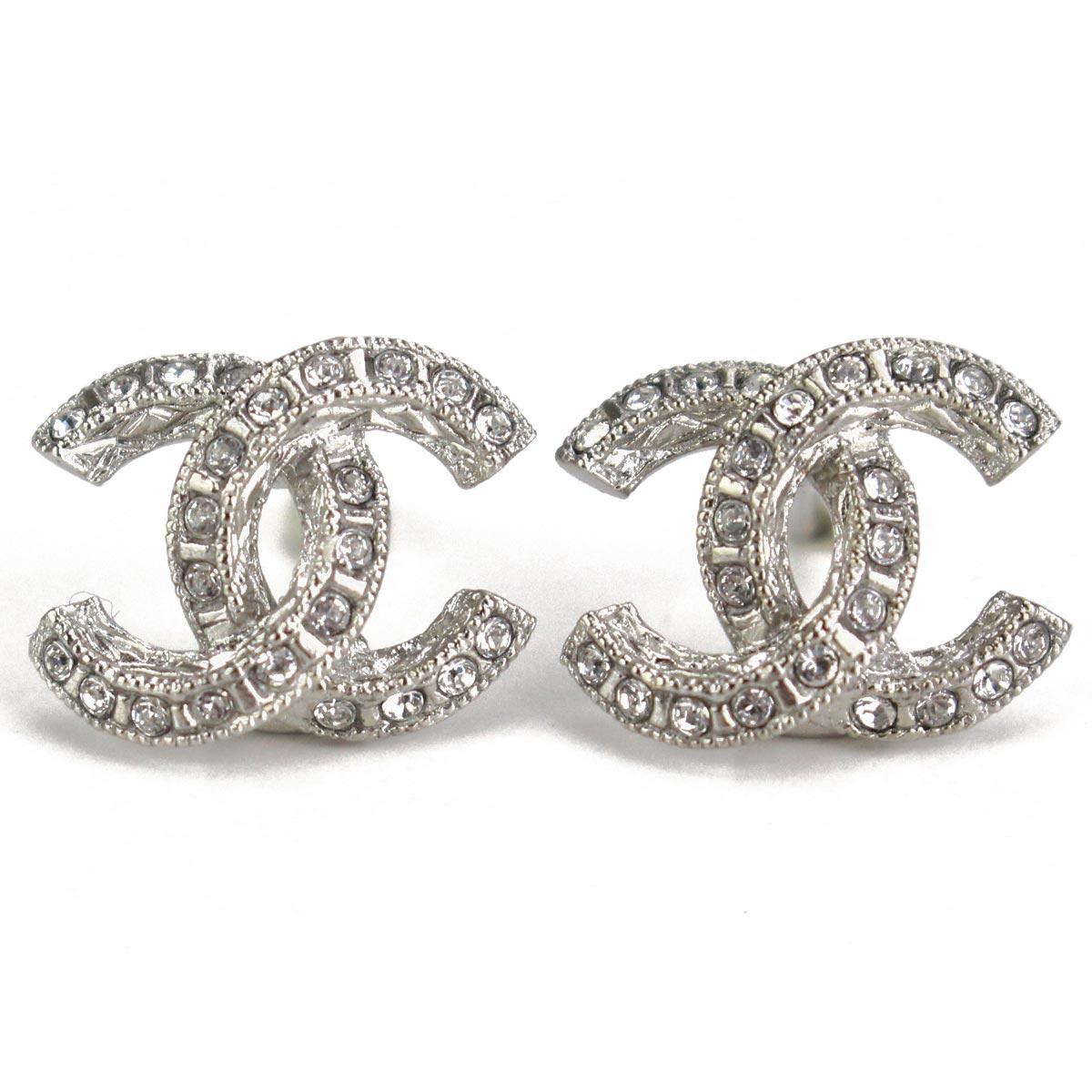 Hit The Total Brand Whole Chanel Rhinestone Here Mark Pierced Earrings A45628 Silver Zirconia Rakuten Global Market