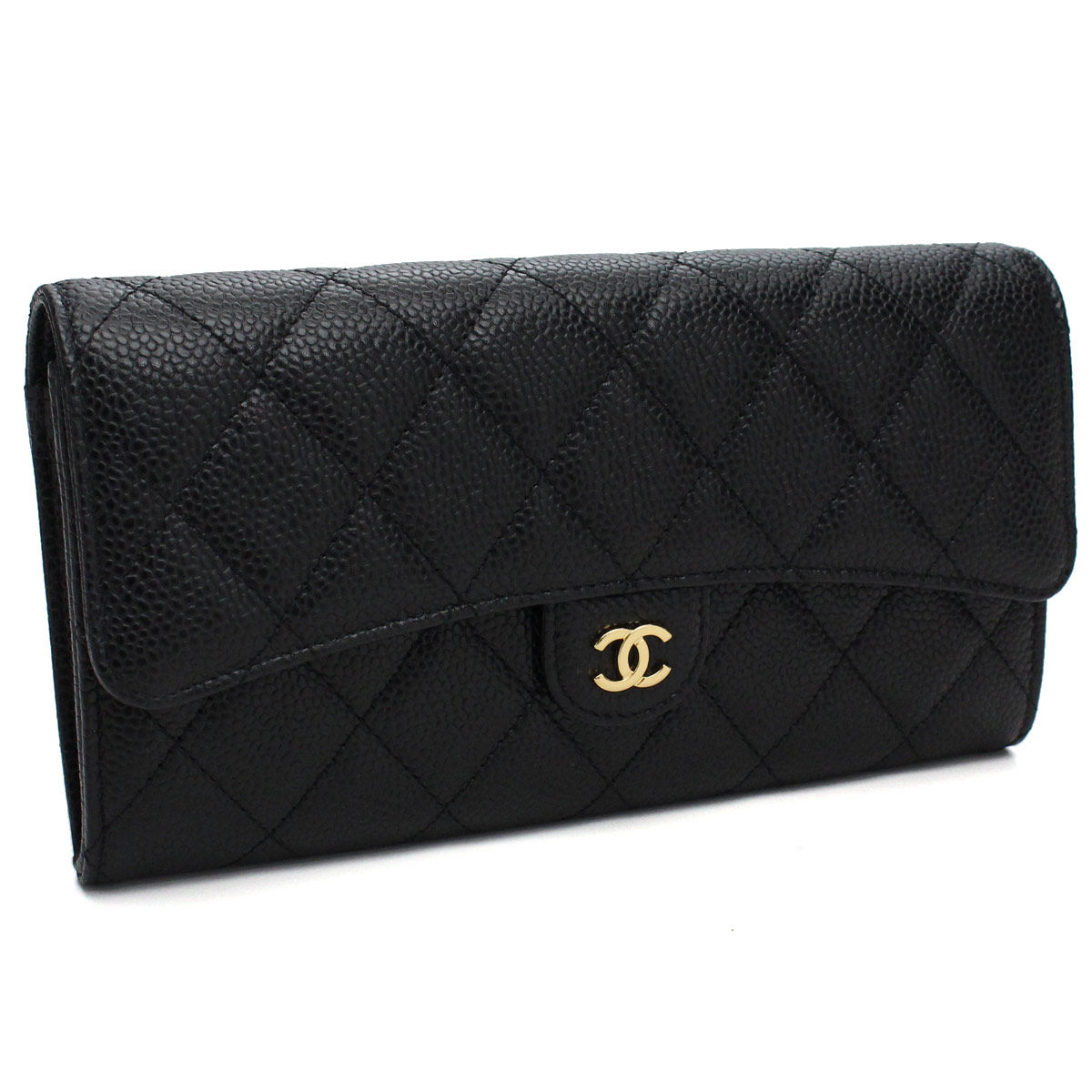 87ce62fa5584 A80758 black with two Chanel (CHANEL) caviar skin matelasse fold long wallet  coin purse