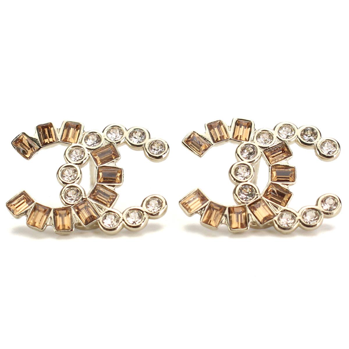 Hit The Total Brand Whole Chanel Rhinestone Here Mark Pierced Earrings A96734 Gold Zirconia Br ジルコ Rakuten Global Market