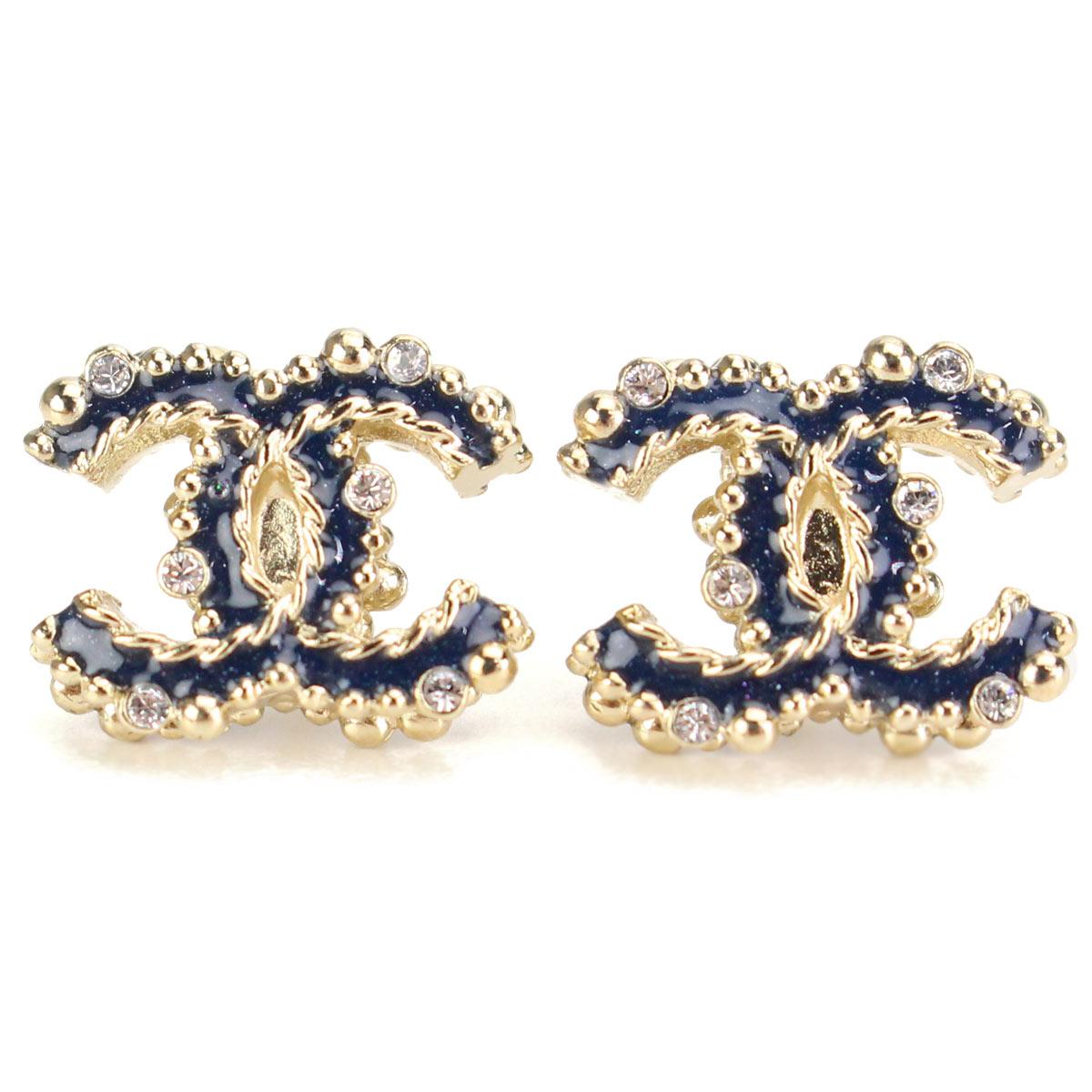 Hit The Total Brand Whole Rakuten Global Market Chanel Rhinestone Here Mark Pierced Earrings A97576 Gold Navy Bl ジルコ