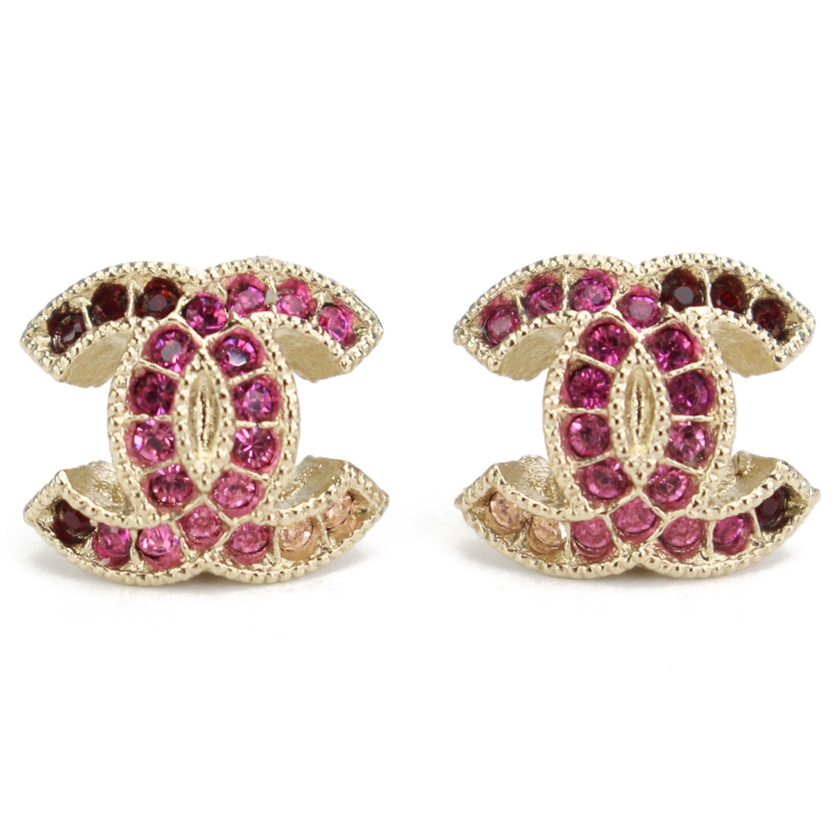 Hit The Total Brand Whole Chanel Rhinestone Here Mark Pierced Earrings A99179 Gold Pink Zirconia Multi System Rakuten Global