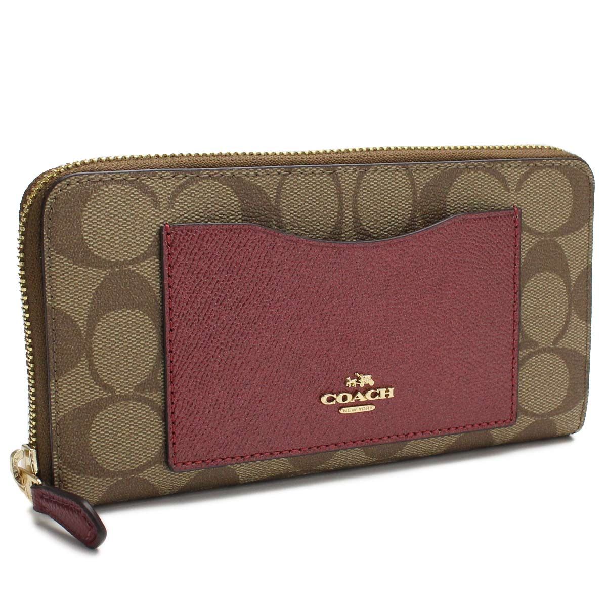 064ba3c02e Bighit The total brand wholesale: Red system of coach COACH wallet  signature round fastener long wallet F22712 IMMWK Brown line | Rakuten  Global Market