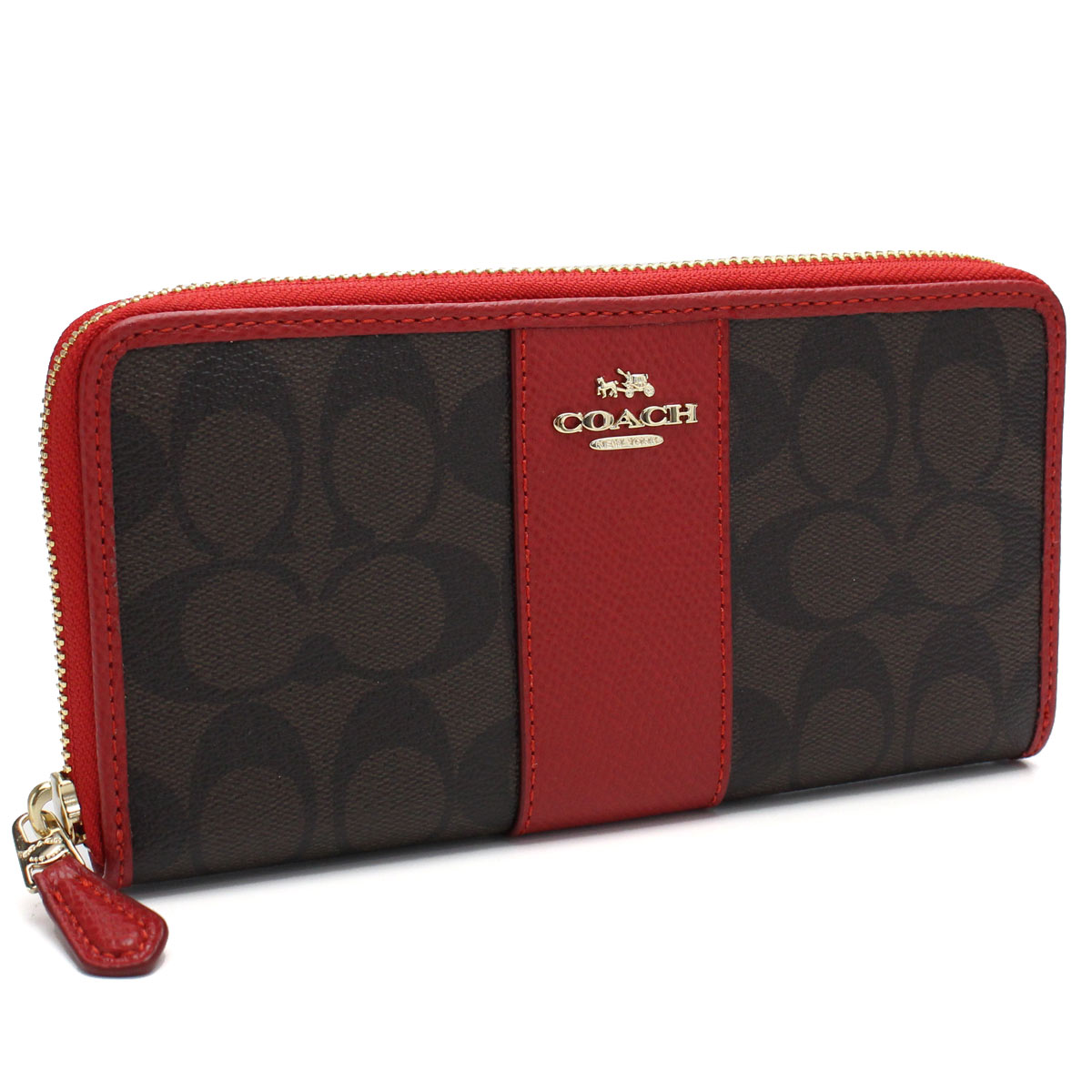 3246d23871 Bighit The total brand wholesale: Coach COACH wallet signature round  fastener long wallet F54630 IML72 red system brown system | Rakuten Global  Market
