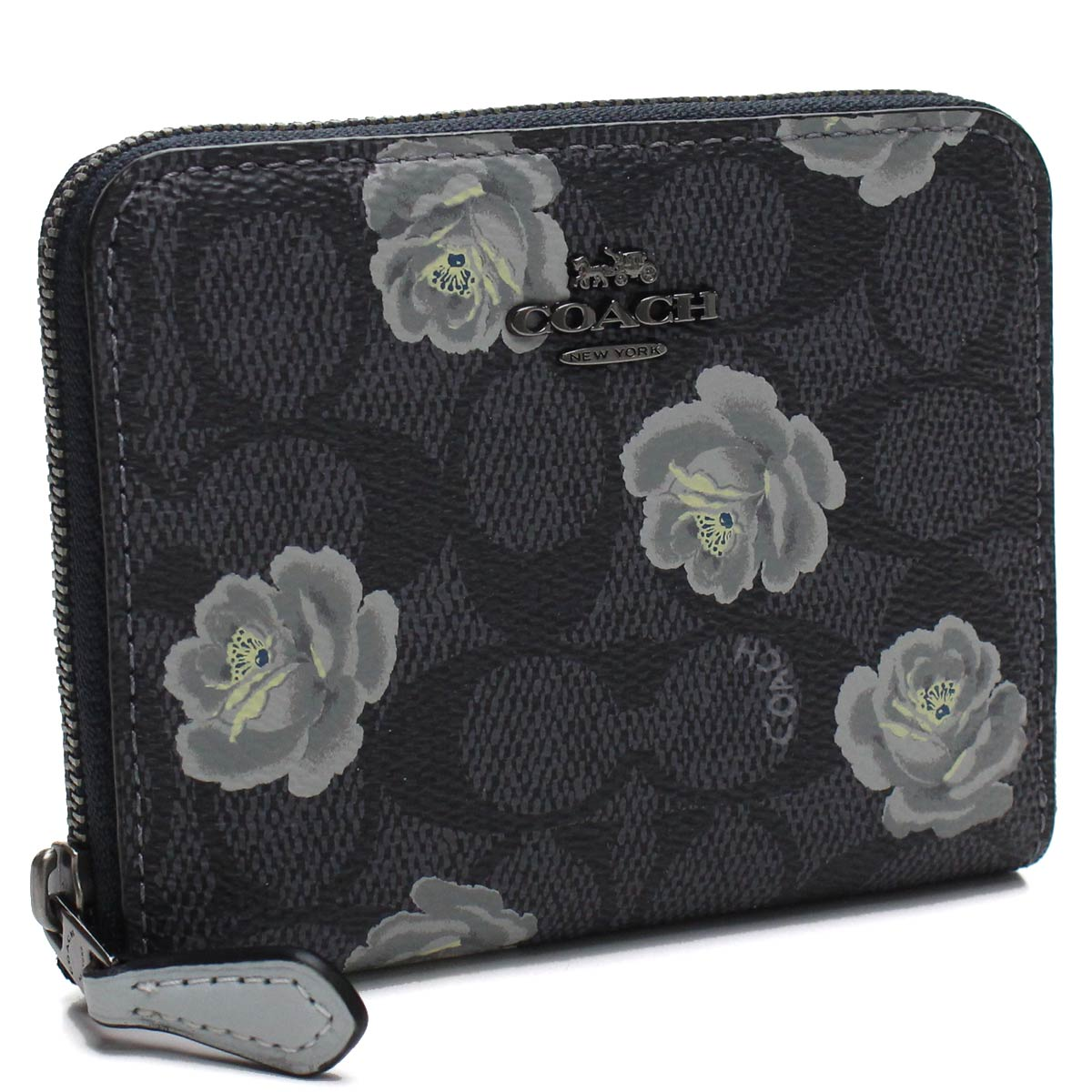 43fc6ad3148e Bighit The total brand wholesale  Coach COACH flower print signature  compact round fastener wallet 31825 DKO3O black multicolored