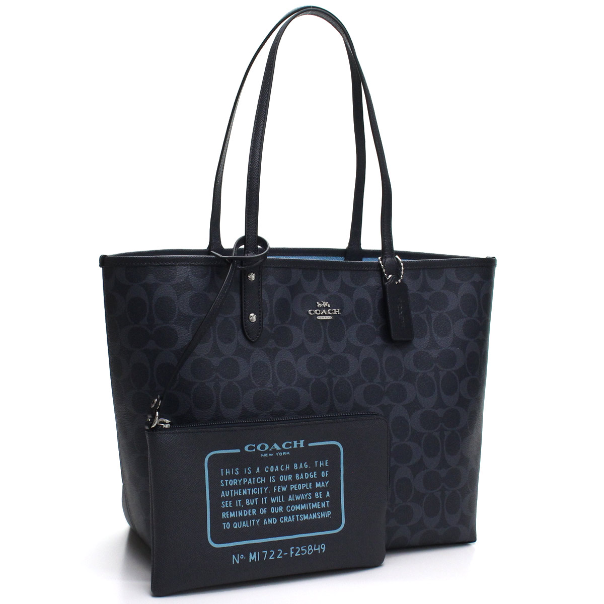 Bighit The total brand wholesale  Blue system of coach COACH signature  reversible tote bag F25849 SVN46 navy origin  0acda98a86f81