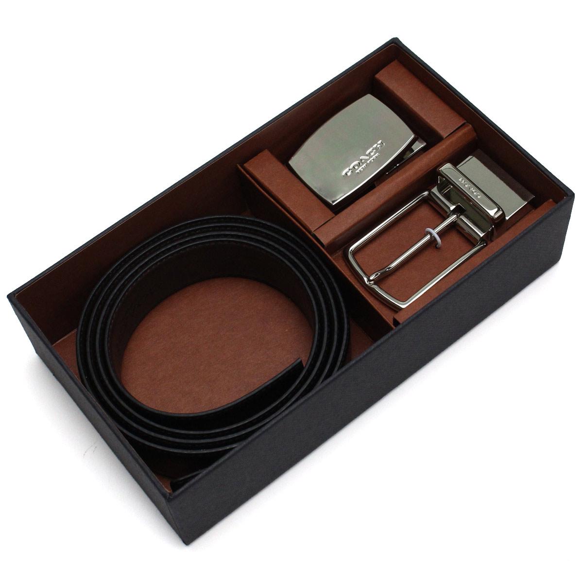 コーチ COACH メンズベルト バックル2個 ギフトセット F65185 AQ0 ブラック ブラウン系 メンズ