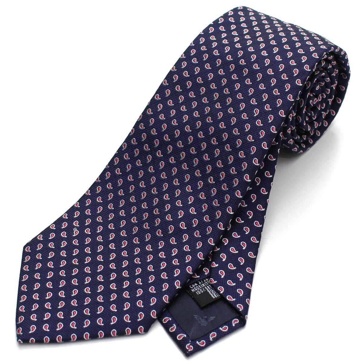 エンポリオ アルマーニ EMPORIO ARMANI ペイズリー柄 シルク ネクタイ レギュラータイ 340182 8A321 00035 BLUE ブルー系 メンズ