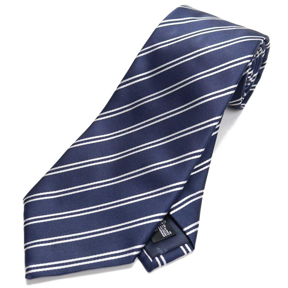 エンポリオ アルマーニ EMPORIO ARMANI ストライプ柄 ネクタイ レギュラータイ 340182 0P307 01836 DARK BLUE ネイビー系、ホワイト系 【メンズ】