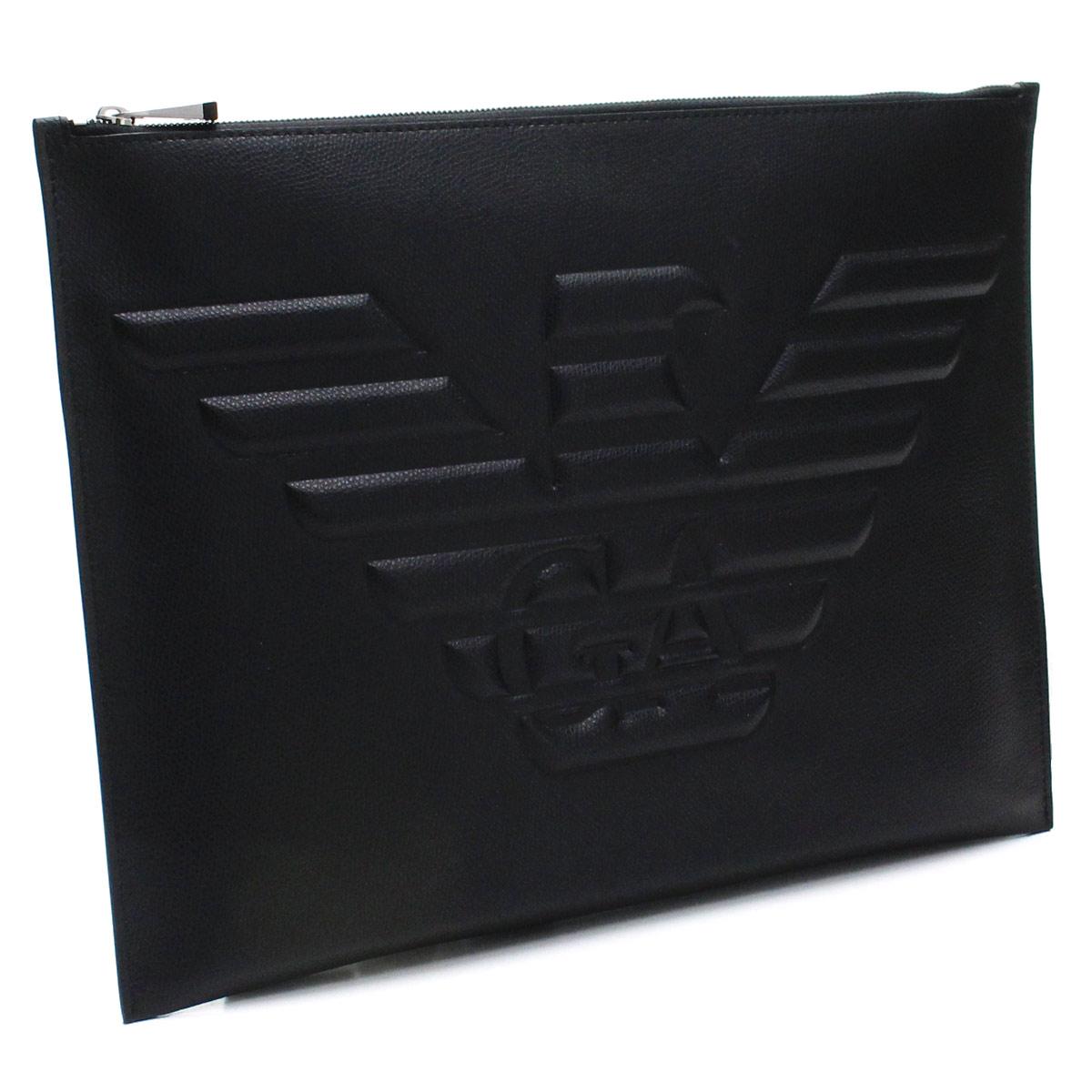 エンポリオ アルマーニ EMPORIO ARMANI イーグル ロゴ エンボス クラッチバッグ Y4P089 YAQ2E 81072 BLACK ブラック メンズ