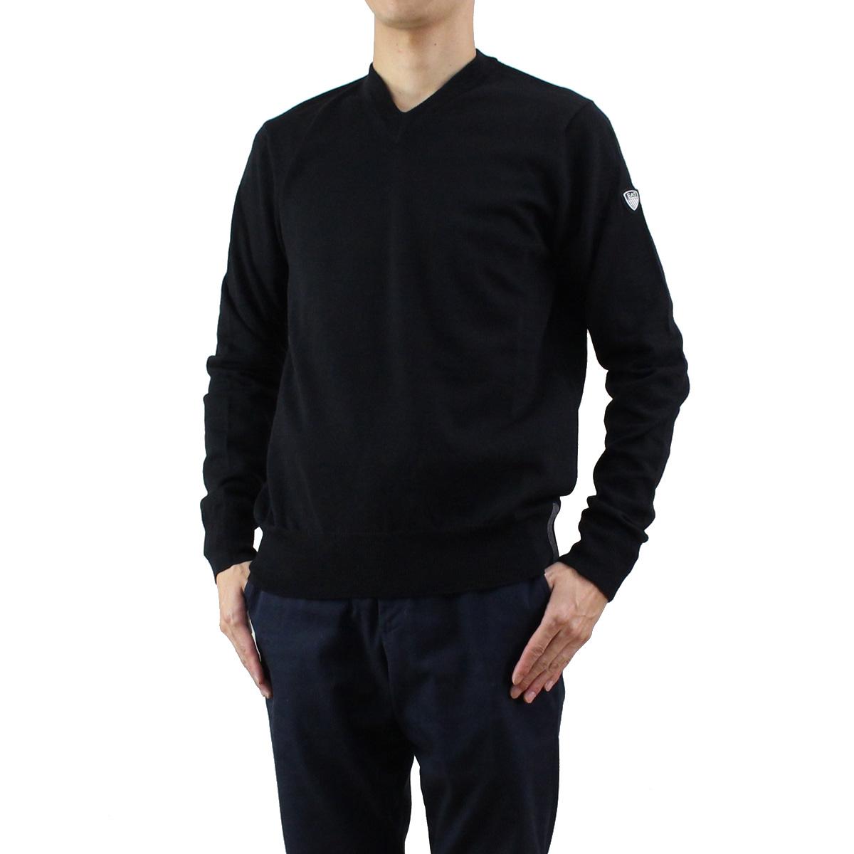 【大幅値下げ!販売価格16,800円→11,200円】イーエーセブン EA7 メンズ Vネック ウール セーター 6YPMZ7 PM04Z 1200 BLACK ブラック 【メンズ】