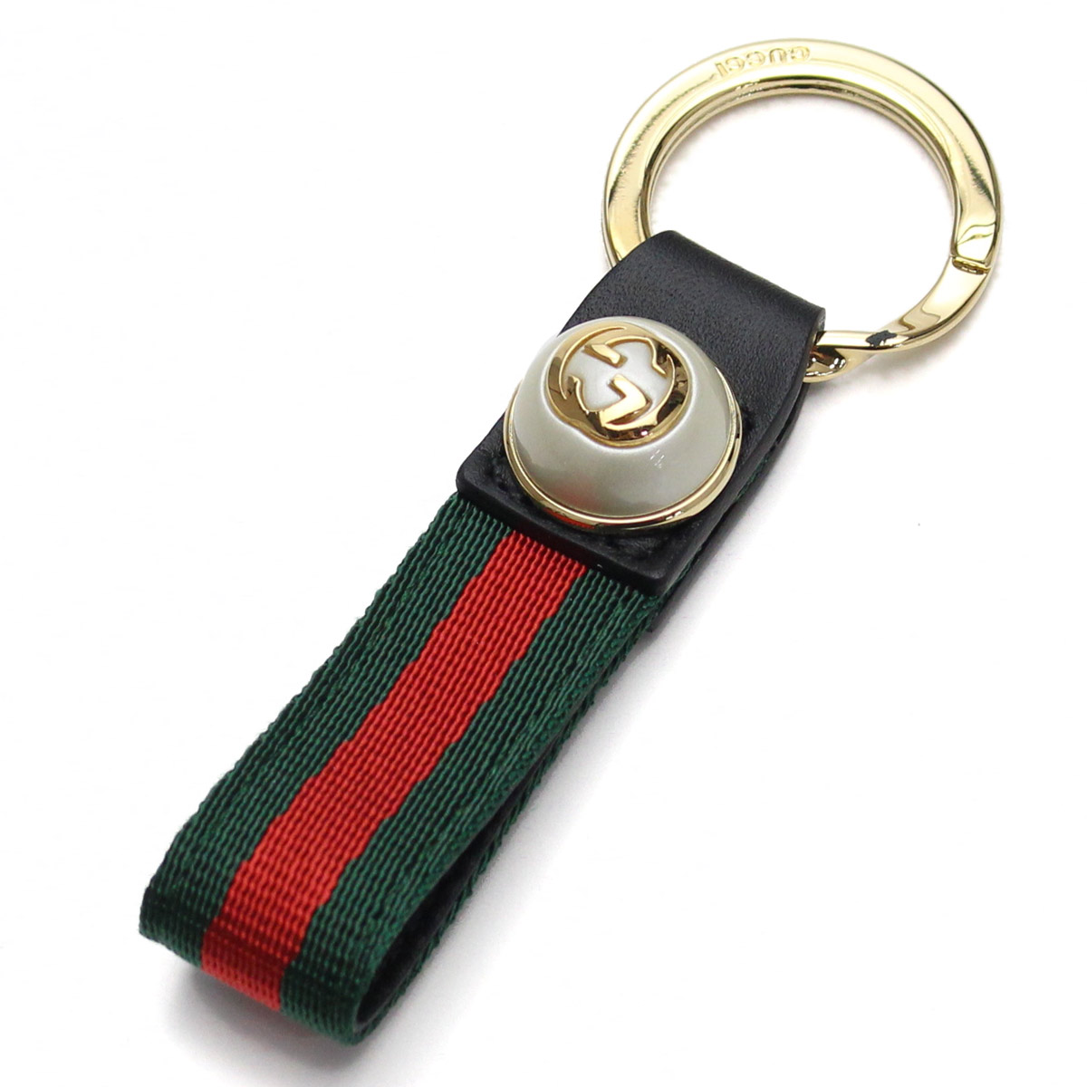 234029f468a Bighit The total brand wholesale  Gucci (GUCCI) GG pearl Web key ring  476390 H9VEG 8481 black green system