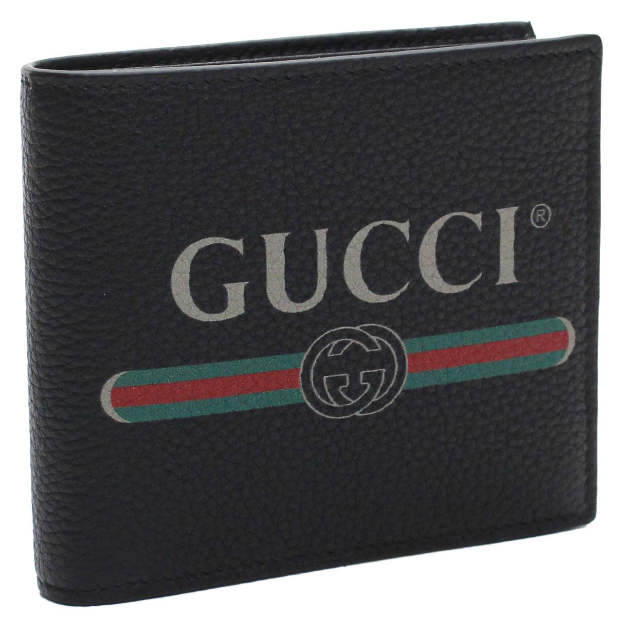 グッチ GUCCI GUCCI PRINT ヴィンテージロゴ プリント 2つ折り財布 コンパクト財布 496316 0GCAT 8163 ブラック メンズ