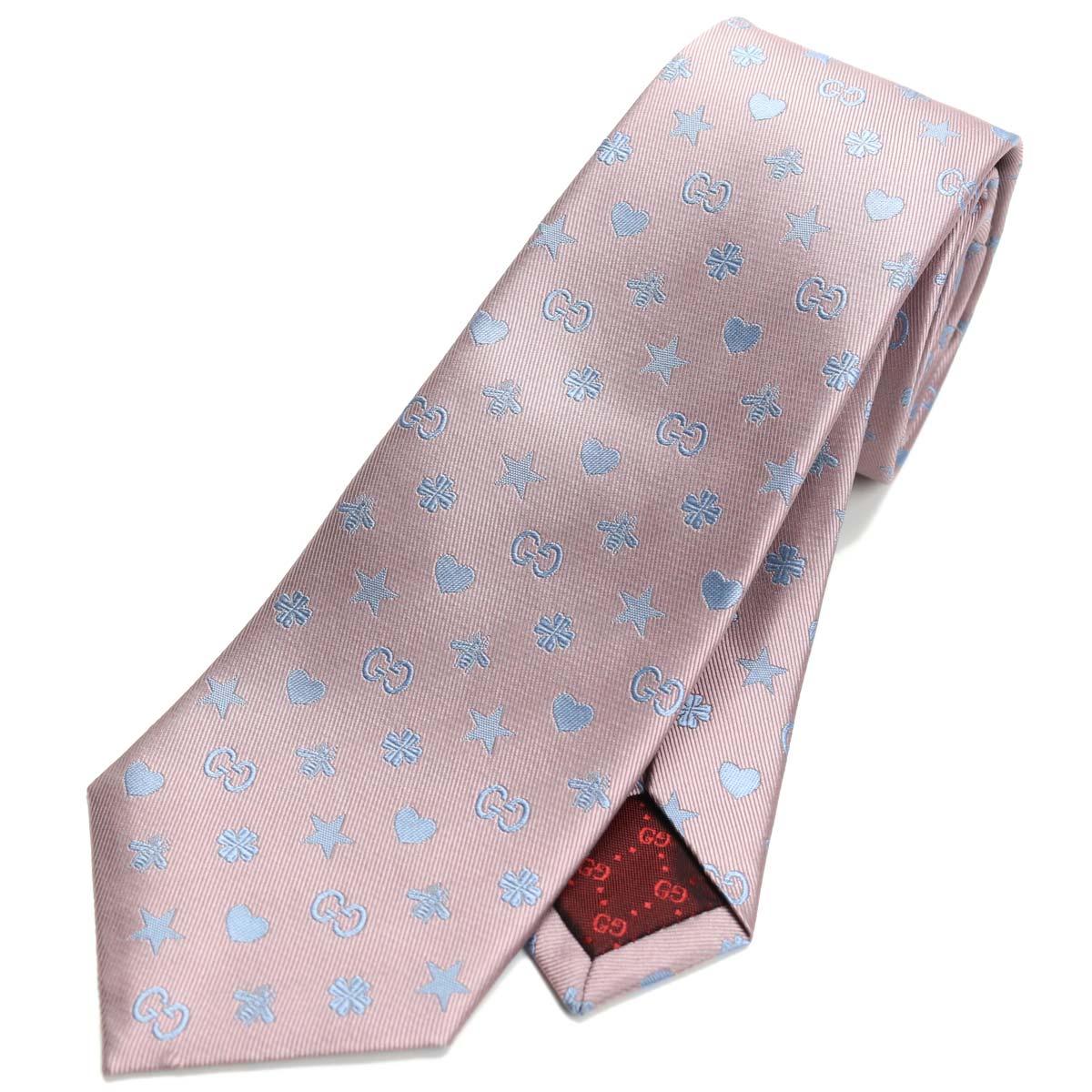 グッチ GUCCI シンボル刺繍 ネクタイ ナロータイ 545834 4E017 5869 ピンク系、グレー系 【メンズ】