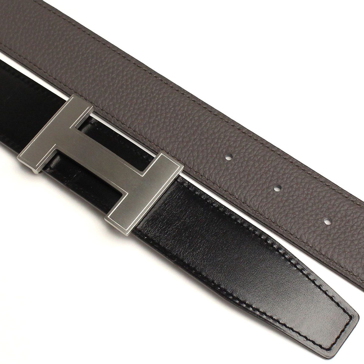 Hermes (HERMES) mens belt QUIZZ black / gray( taxfree/send by EMS/authentic/A brand new item )