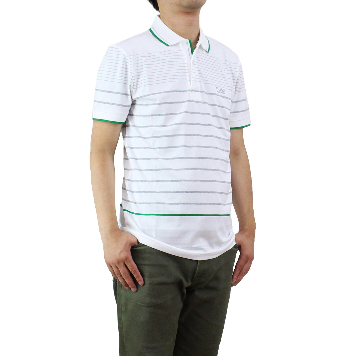 ヒューゴ ボス HUGO BOSS メンズ 半袖 ポロシャツ 50329696 10195908 100 ホワイト系 グリーン系 メンズ 半袖【キャッシュレス 5% 還元】
