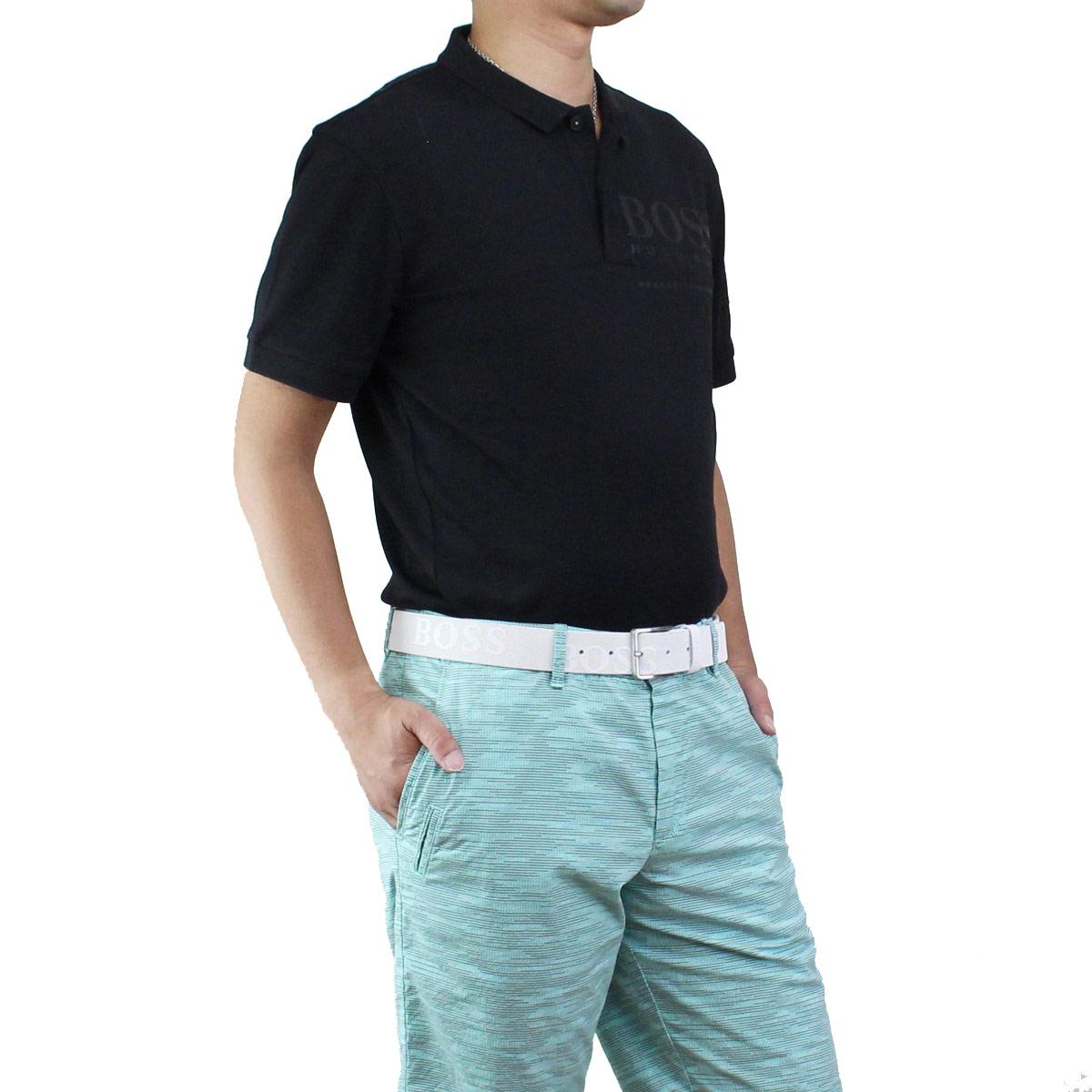 ヒューゴ ボス HUGO BOSS PL-TECH メンズ ロゴ入り ポロシャツ 半袖 ゴルフウェア 50399317 10208645 001 ブラック【キャッシュレス 5% 還元】