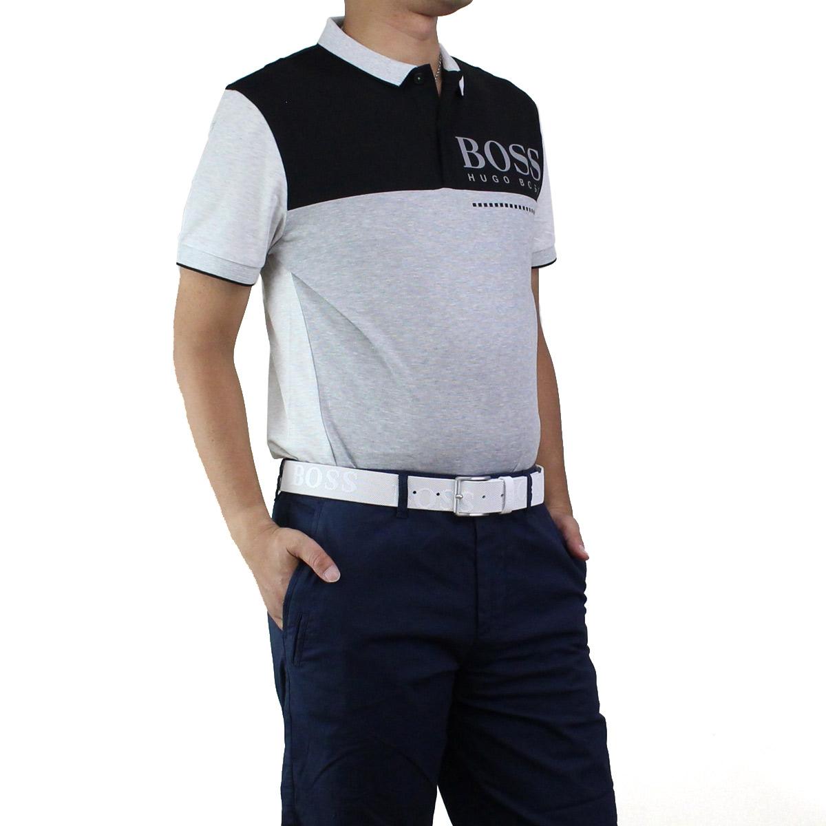 ヒューゴ ボス HUGO BOSS PL-TECH メンズ ロゴ入り バイカラー ポロシャツ 半袖 ゴルフウェア 50399317 10208645 057 ブラック、グレー系 メンズ【キャッシュレス 5% 還元】