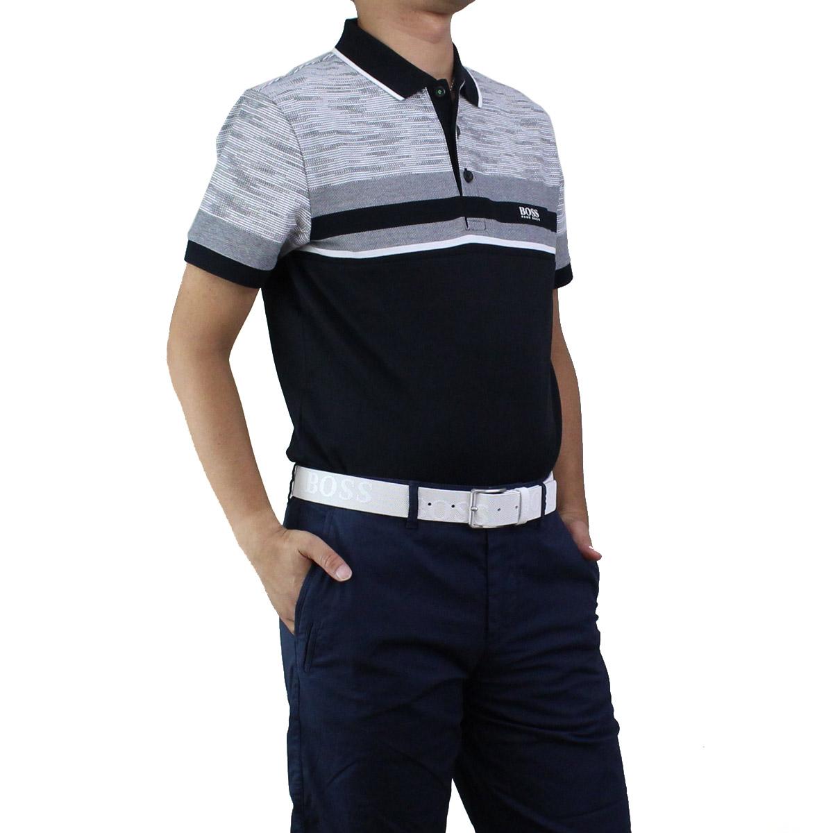 ヒューゴ ボス HUGO BOSS PAULE 5 ポール 5 ポロシャツ 半袖 ゴルフウェア 50404265 10215735 001 ブラック グレー系 メンズ【キャッシュレス 5% 還元】