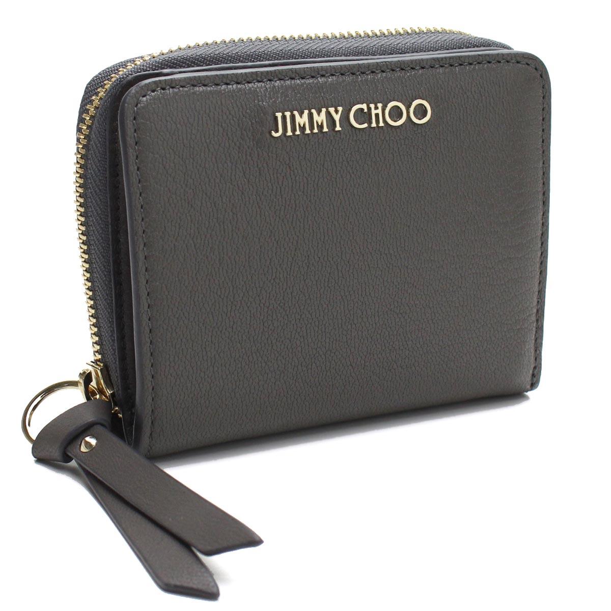 【訳あり】ジミーチュウ JIMMY CHOO 2つ折り財布 REGINA GRZ DARK GREY DARK GREY グレー系 【レディース】