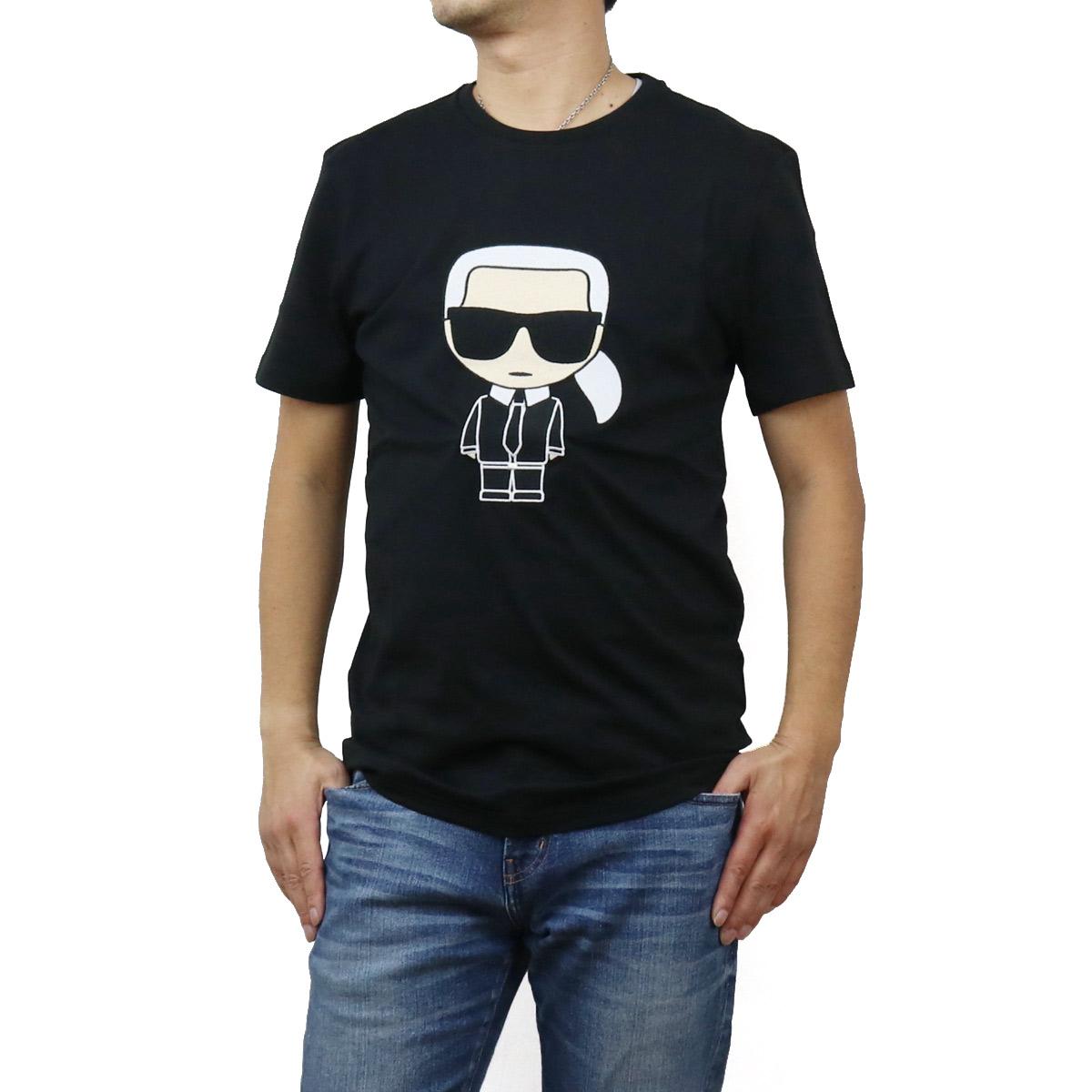 【※】 送料無料【ラッピング無料】 2020秋冬新作 カール・ラガーフェルド Karl Lagerfeld メンズ-Tシャツ IKONIK 755060 502250 990 BLACK ブラック メンズ bos-12 apparel-01