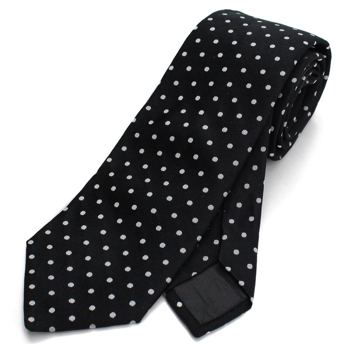 ランバン LANVIN ドット柄 ネクタイ 通常幅 レギュラータイ 2149/2 ブラック メンズ【キャッシュレス 5% 還元】