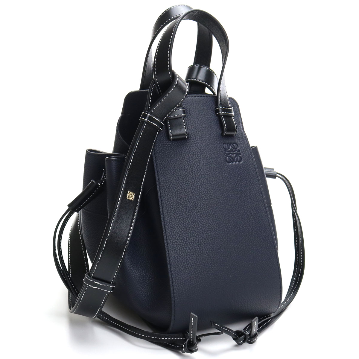ロエベ LOEWE Hammock Drawstring Small Bag ハンモック ドローストリング スモール 2way ハンドバッグ 314.12BZ95 5605 MIDNIGHT BLUE ネイビー系 【レディース】