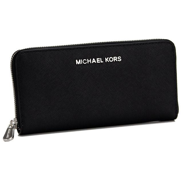 32T3STVE3L BLACK black with Michael Kors (MICHAEL KORS) JET SET TRAVEL round fastener long wallet coin purse
