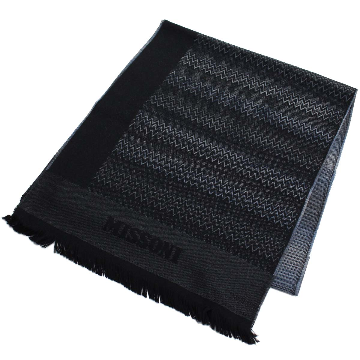 ミッソーニ MISSONI ウール マフラー 0833 4 ブラック マルチカラー メンズ レディース 【キャッシュレス 5% 還元】