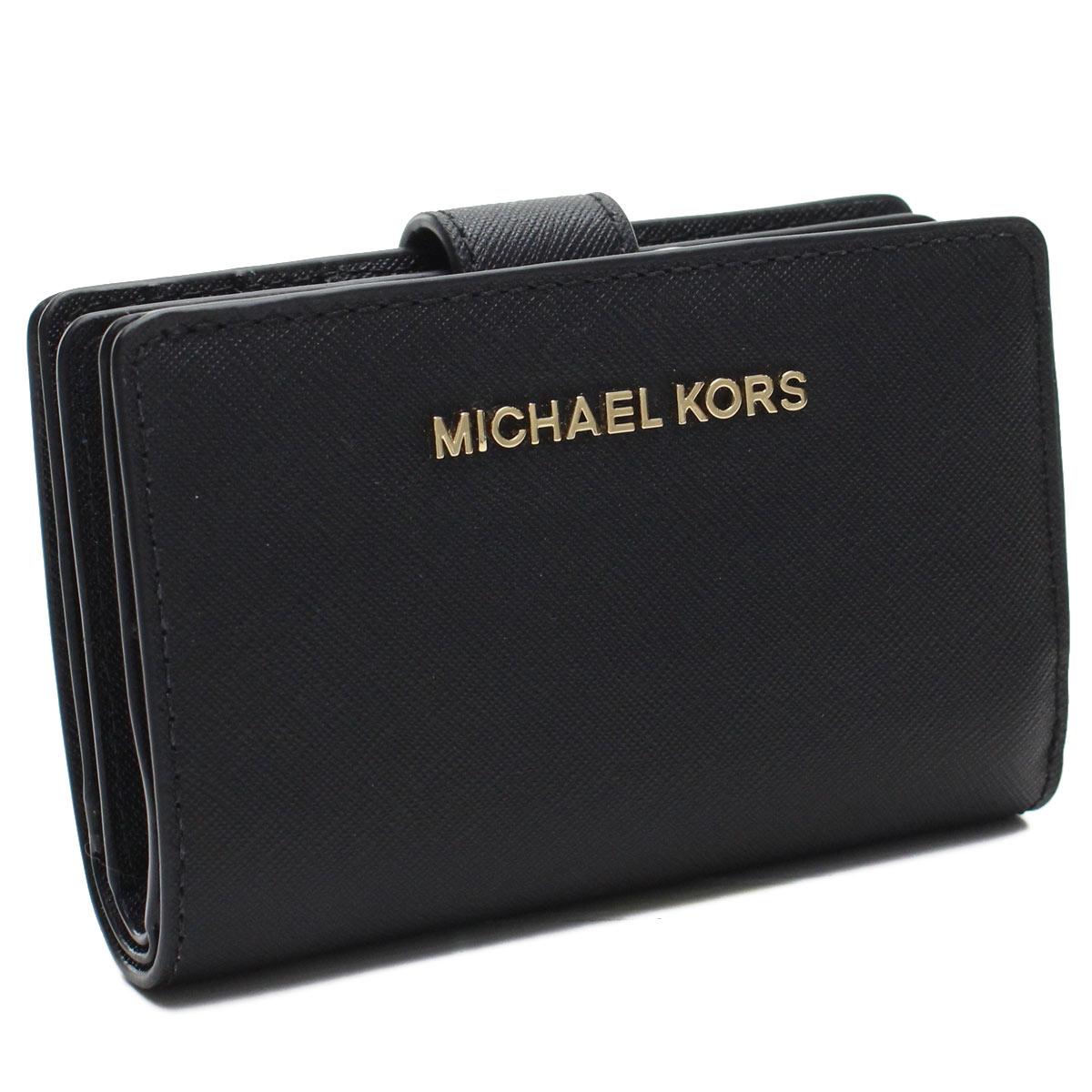 マイケルコースアウトレット MICHAEL KORS(OUTLET) コンパクト 2つ折り財布 35F7GTVF2L LEATHER BLACK ブラック レディース