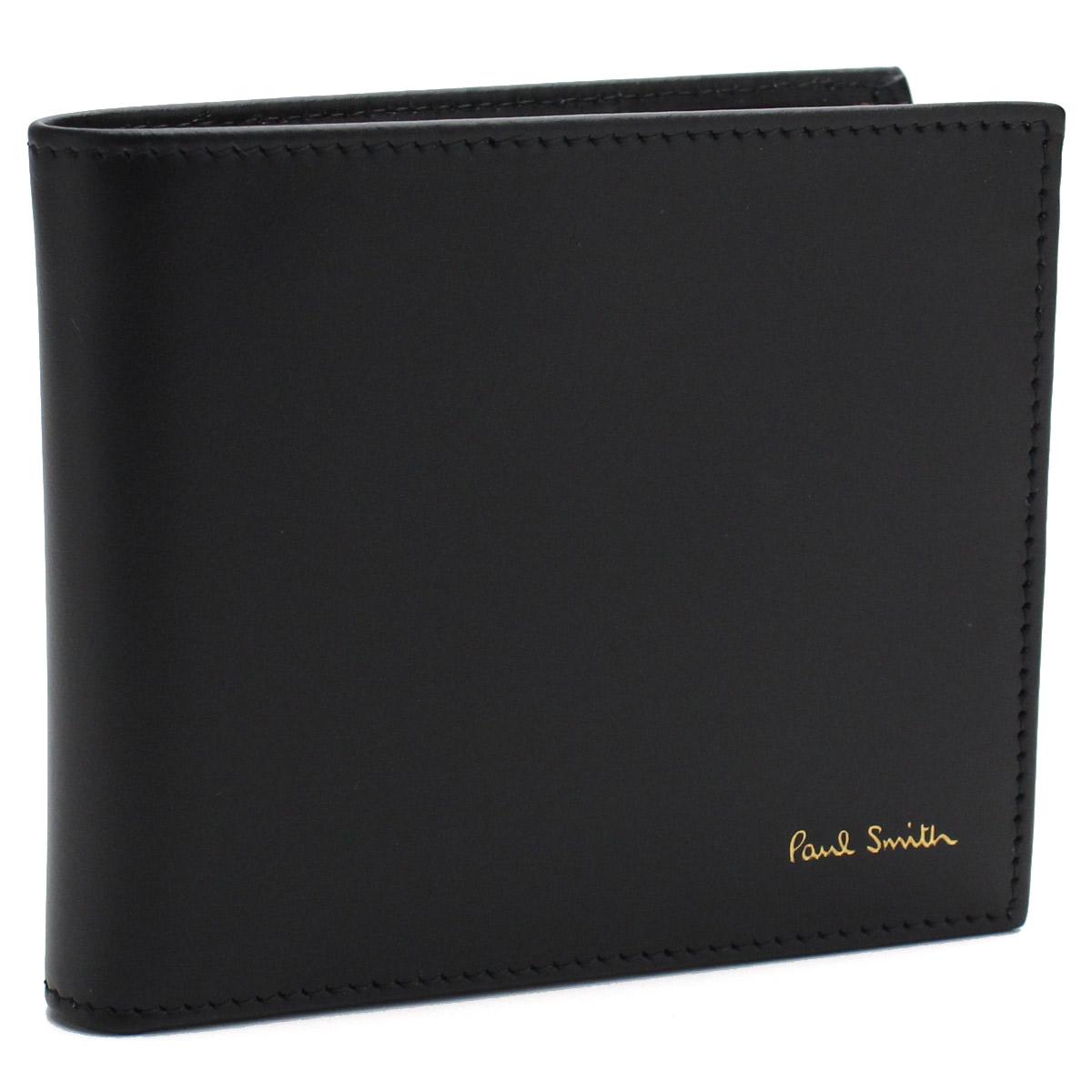 ポール スミス Paul Smith 財布 内側マルチストライプ 2つ折り財布 小銭入れ付き AUPC4833 W761A 79 ブラック メンズ