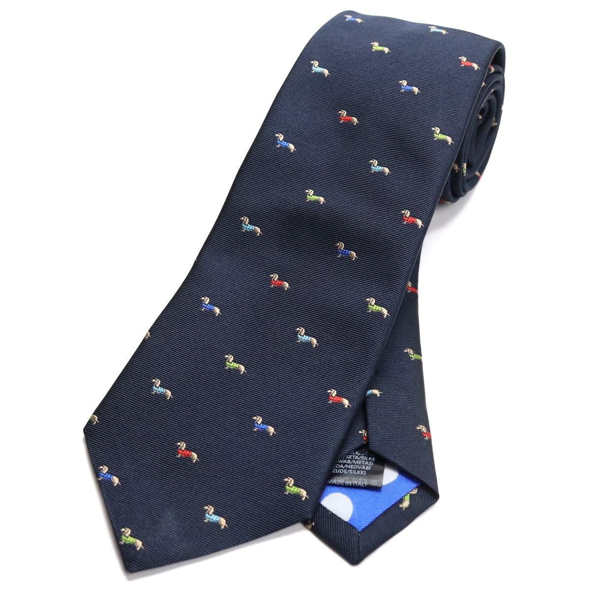 ポール スミス Paul Smith ドッグ刺繍 ネクタイ レギュラータイ M1A552M ALUE31 47 ネイビー系 マルチカラー 【メンズ】