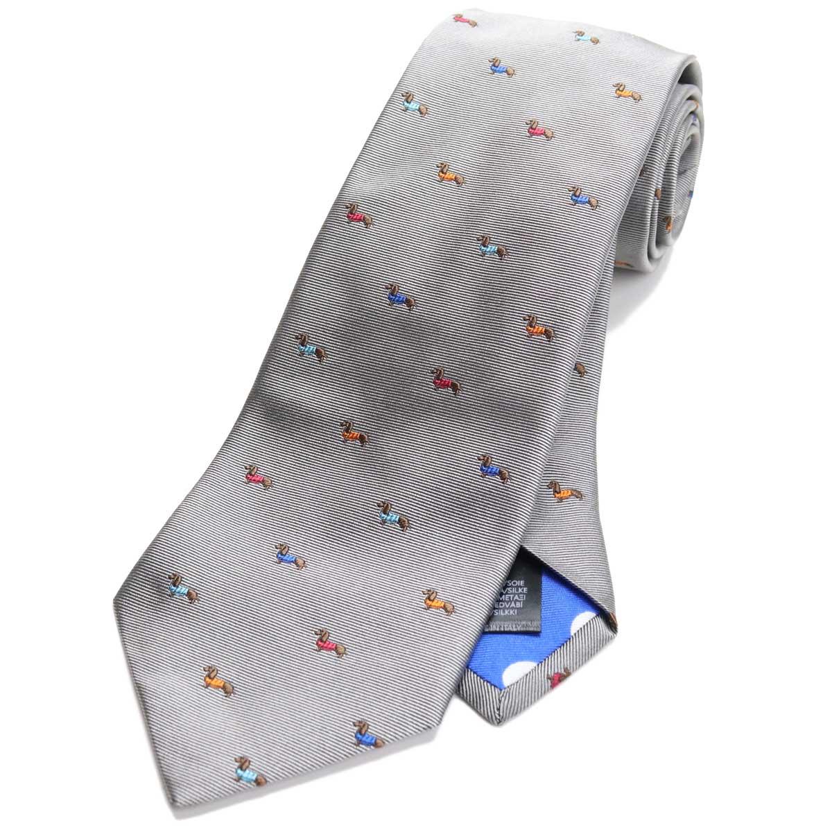 ポール スミス Paul Smith ドッグ刺繍 ネクタイ レギュラータイ M1A552M ALUE31 70 グレー系 マルチカラー 【メンズ】