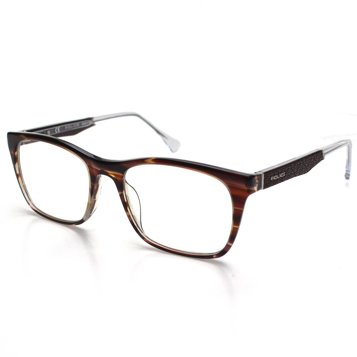 ポリス POLICE ダテ眼鏡 メガネフレーム VPL056 0C00 ブラウン系 メンズ